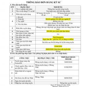 ĐƠN HÀNG XKLĐ NHẬT BẢN THÁNG 05/2020 - KỸ SƯ VẬN HÀNH MÁY CHẾ BIẾN THỰC PHẨM
